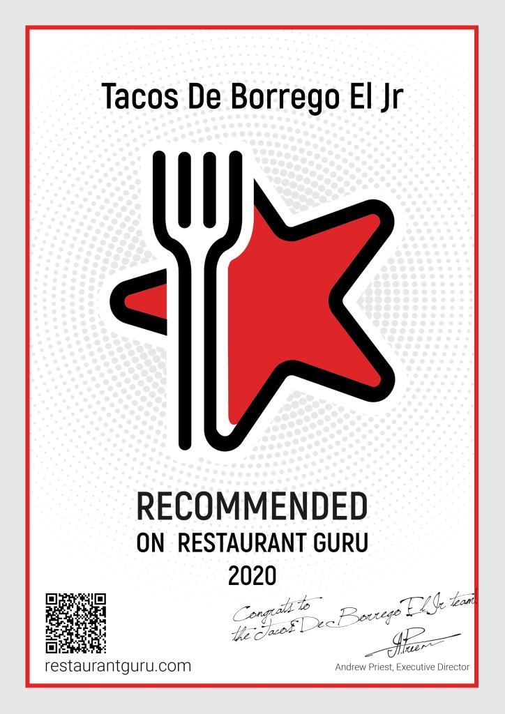certificado de recomendación de restaurant guru